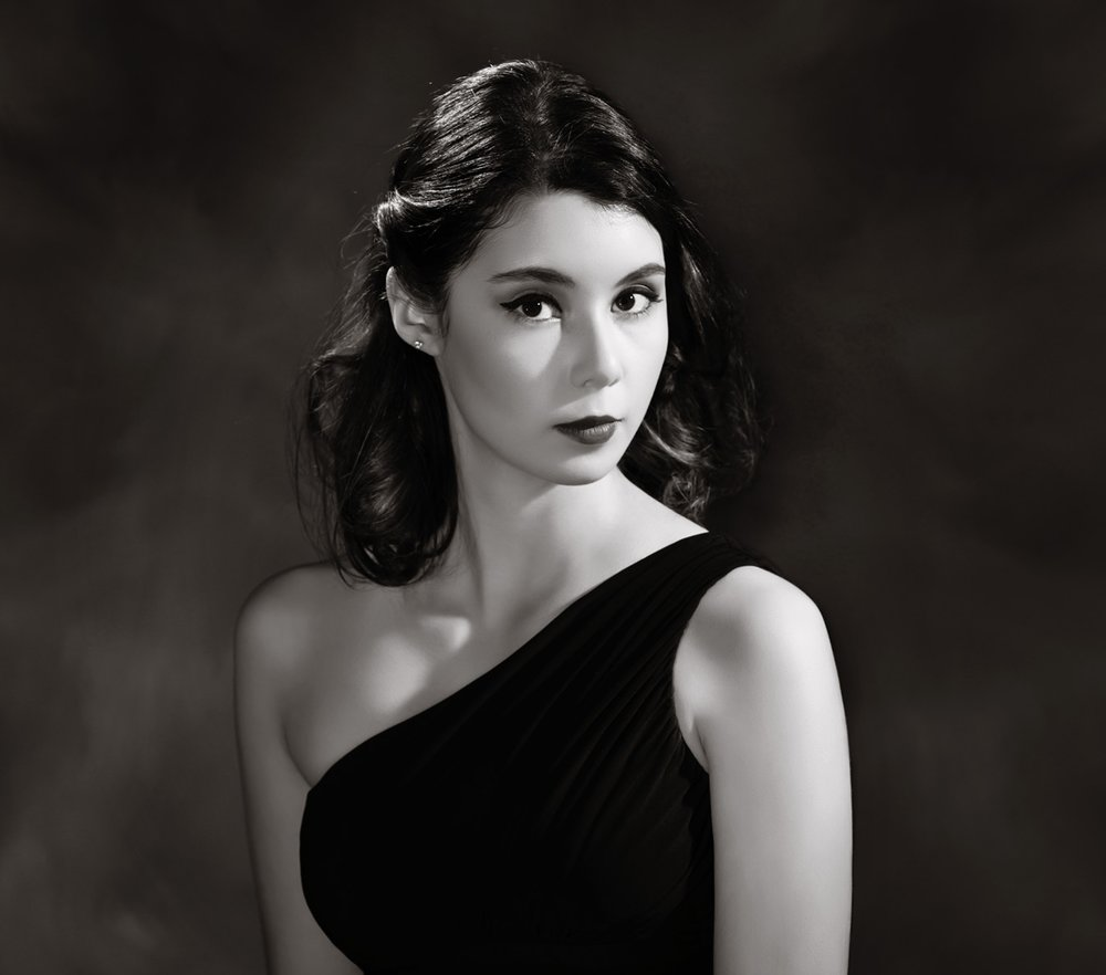 A closer look at Paulina's classic beauty is captured in this Film Noir casting of shadows.