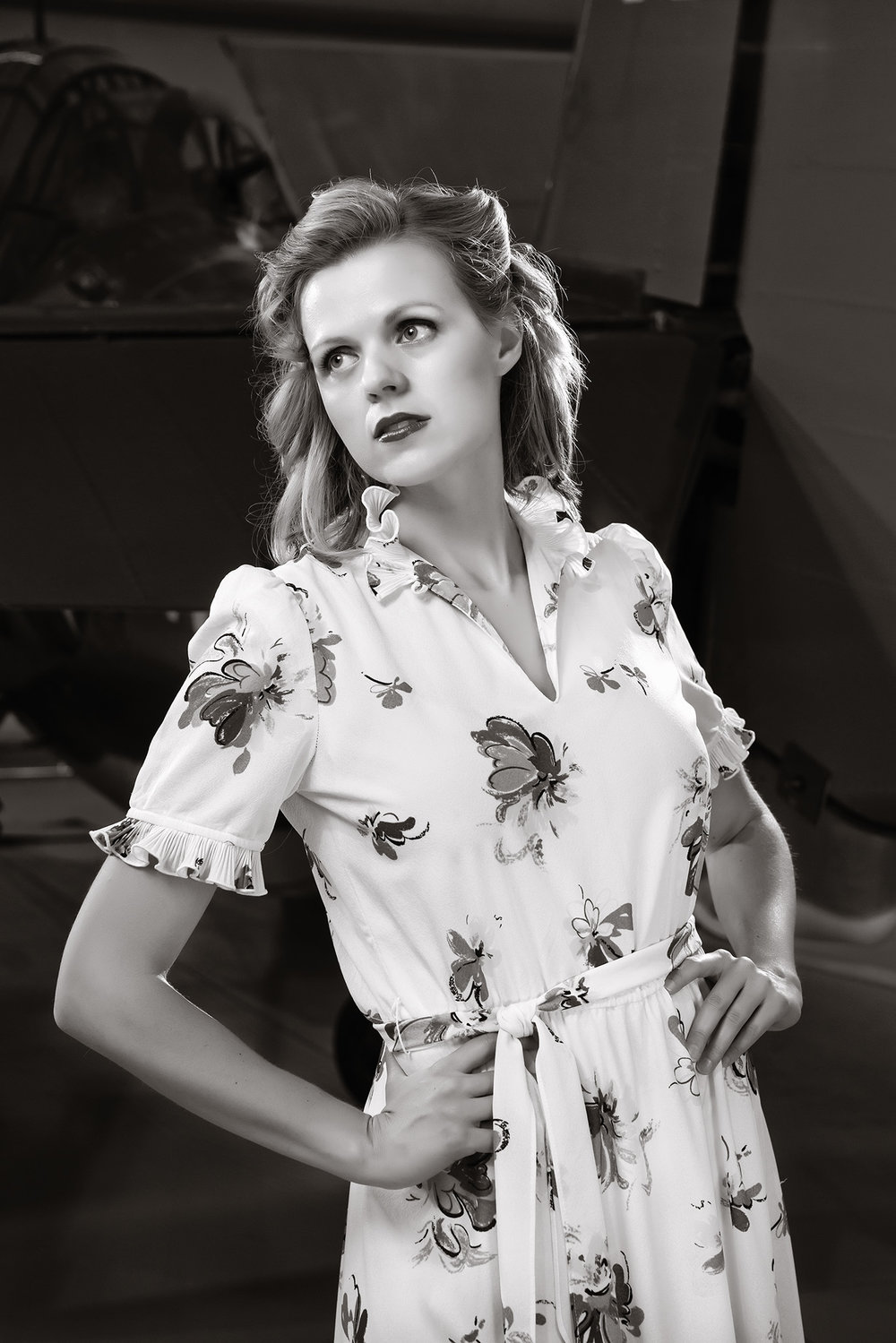 Model, Catherine Johnson poses with vintage 40's dress
