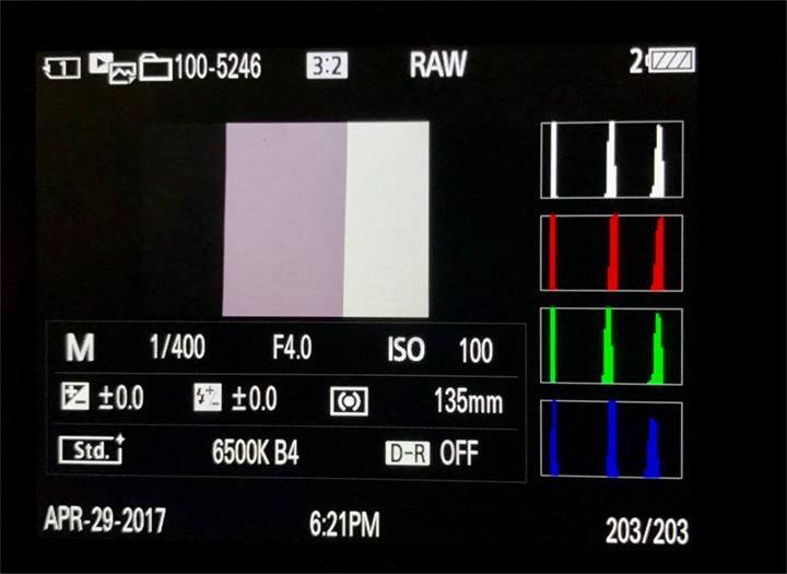 Fig. 2. Sample camera histogram for HSS output measurement.