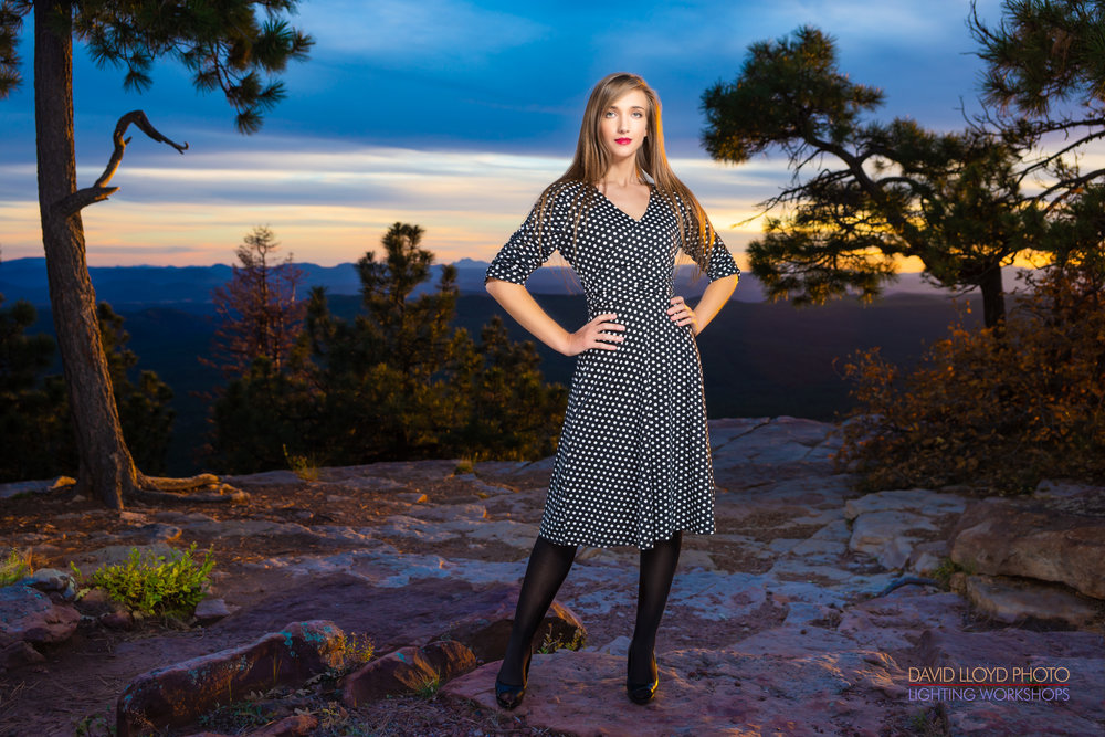 Our model, Keely Austin poses in the real life backdrop of the Mogollon Rim as the sun sets in the distance and sheds a beam of golden light across the scene…