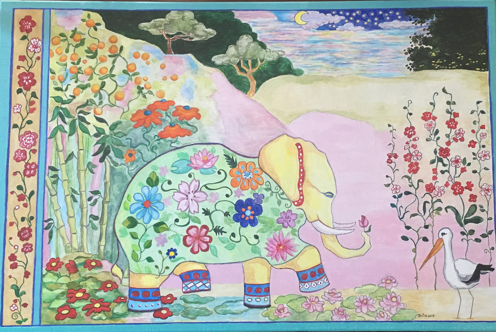 Yeah, it's a bigger, painted version of my Zen Elephant colored pencil drawing (on my home page)