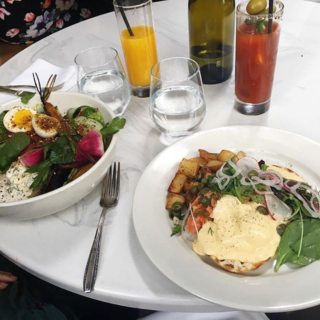 Hey hungry people, join us for brunch today. Our new chef @quinoc is killing it already! #ComeTastetheDifference Shown here is the Summer Salad and our new HOUSE Smoked Salmon Benedict. . . . . #SmokedSalmon  #EggsBenedict #SundayBrunch #BestBrunch #BrunchGoals #Organic #FarmtoTable #BooklynEats  #Yummy #Foodgasm #FoodBlogger #Yum #Nom #Eeeeets #FoodPorn #InstaFood #InstaGood #Eater #Foodie #Foodstagram #Delish #FoodPorn #Brunchscape #YesWilliamsburg #ZagatNyc #TastingTable #EatatEvaJeans #Bedstuy #EvaJeans