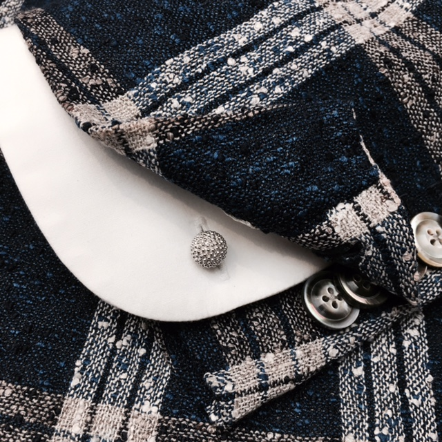 Bespoke Shirt & Handmade Bespoke Jacket in Silk Linen. From HK$12,800.    Studded Cufflinks in Sterling Silver.   Click to Purchase Now at Lane Crawford Online Hong Kong