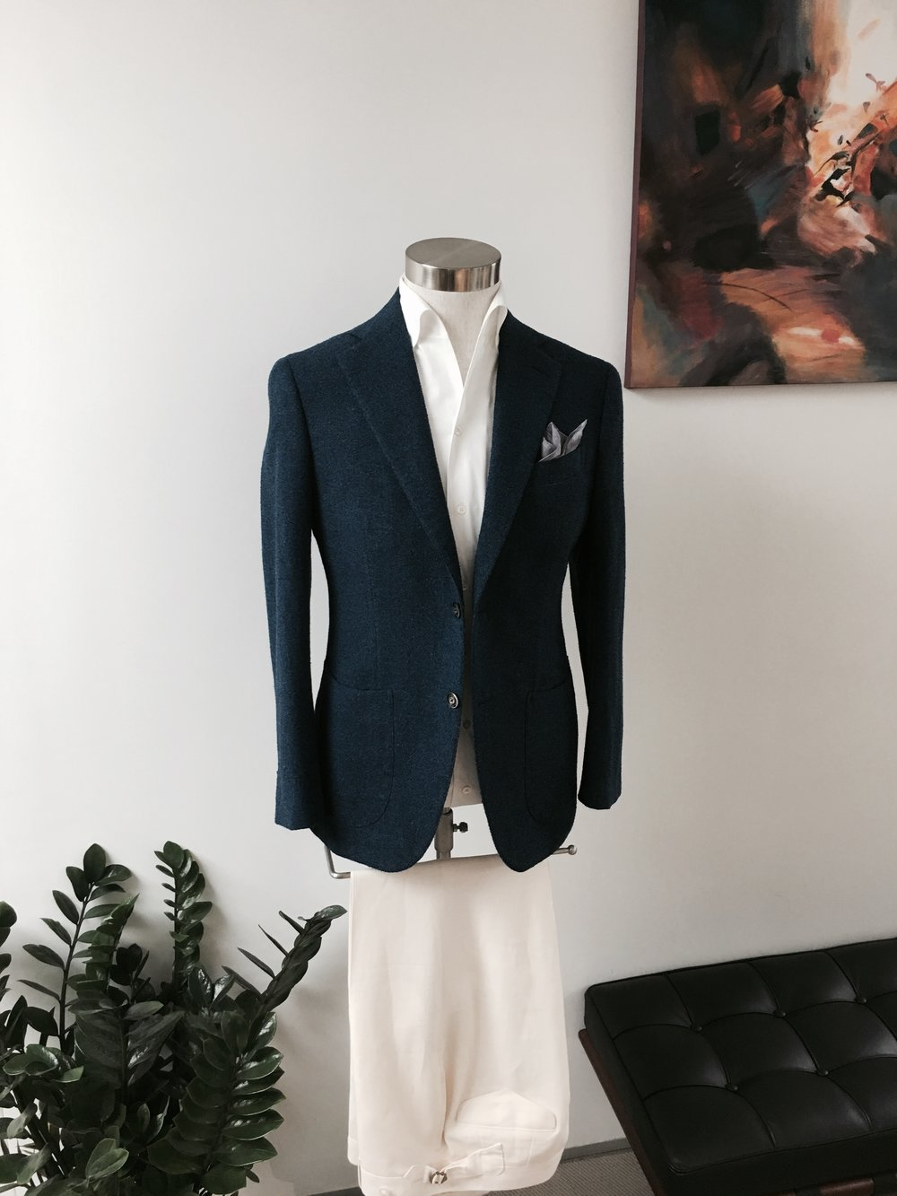 Bespoke Leisure Wear Companion in Vintage Cotton Linen. HK$13,800.