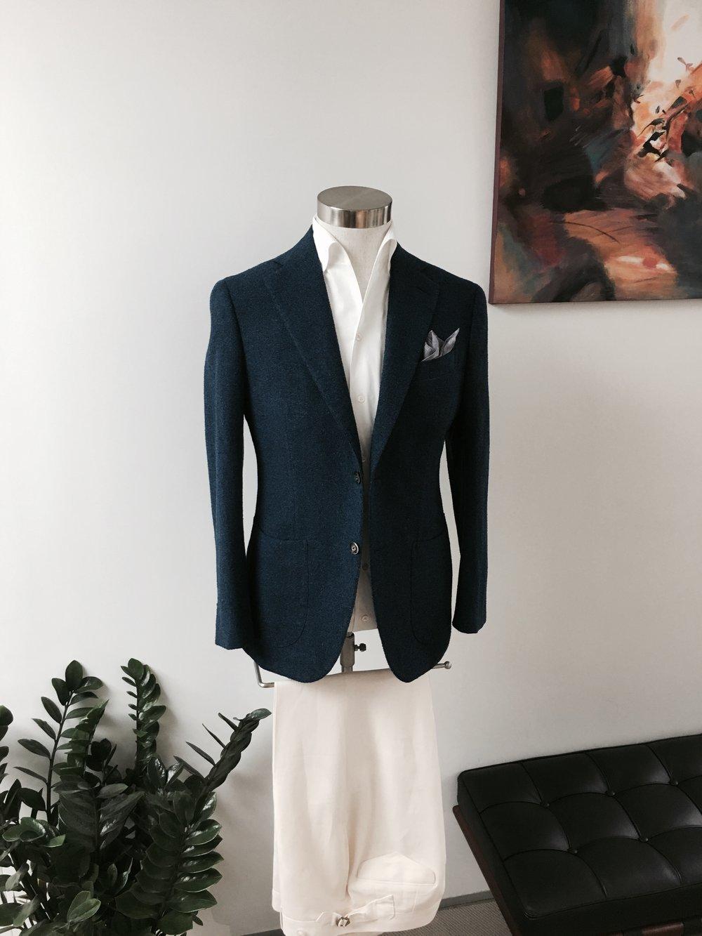Bespoke Leisure Wear Companion in Vintage Cotton Linen. HK$13,800.