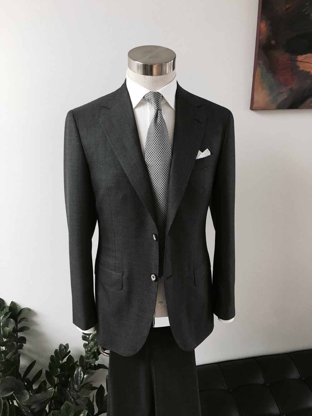 Bespoke Suiting in Wool Silk, 5,000 Handmade Stitches, 50 Man Hours.