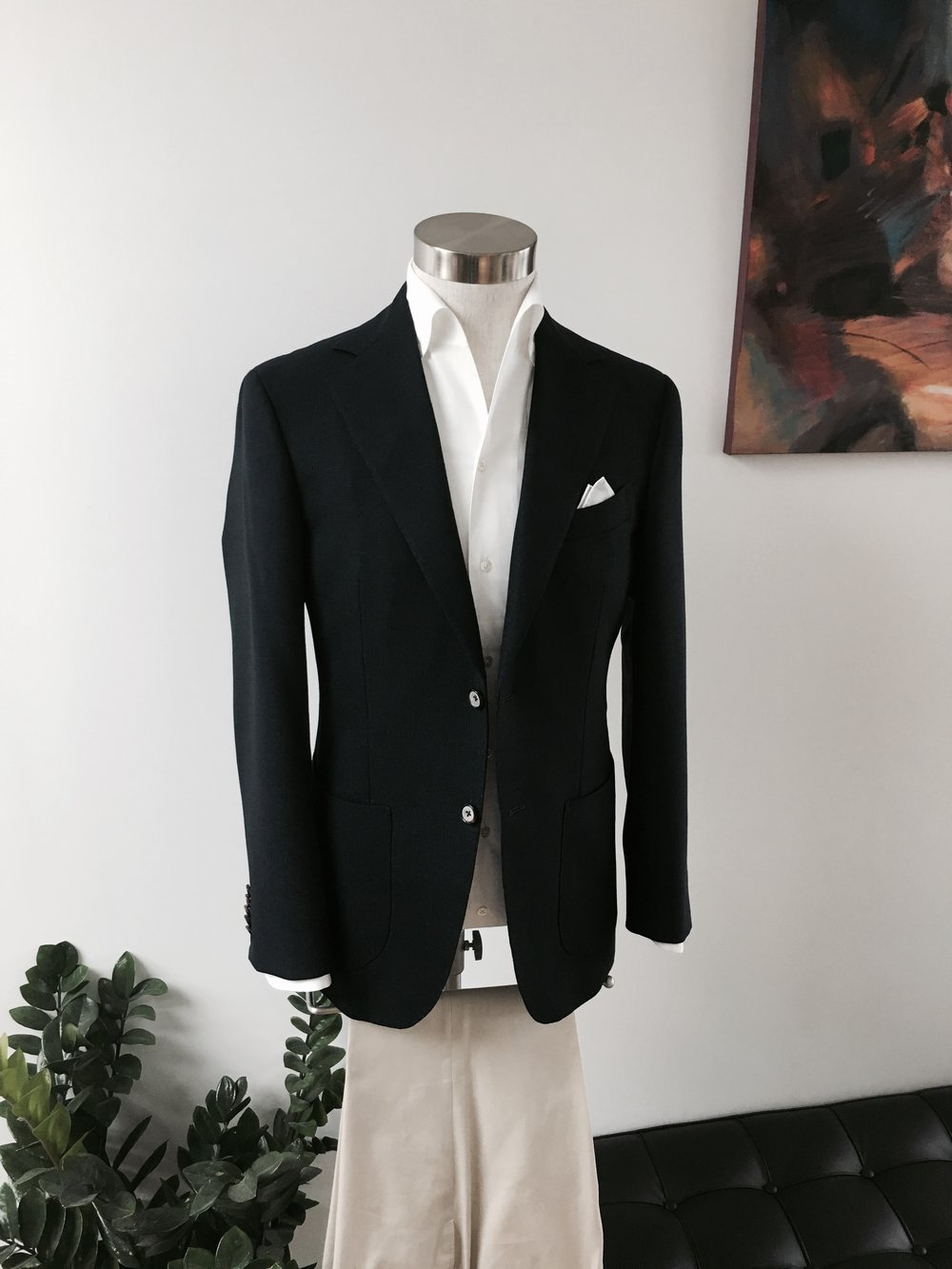 Business Casual Four Seasons Hopsack Blazer. HK$13,000.    Bespoke Seasonal & Classic Chinos. From HK$3,800.