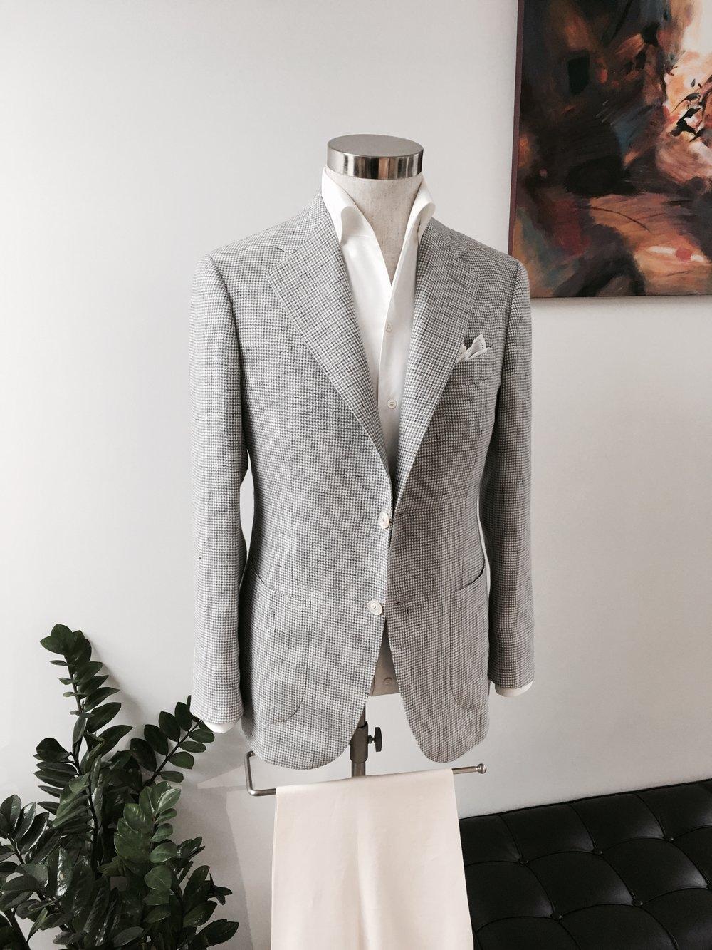 Summer Leisure Wear in Houndstooth Linen. From HK$13,800.