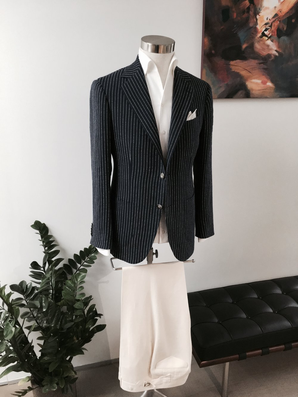 Summer Linen Leisure Wear in Pinstripe. From HK$13,800.