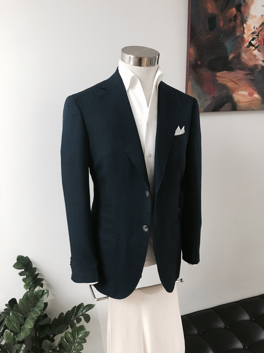 Events Silk Blazer & Ivory Linen Leisure Trousers.    (Available in Bespoke & Made to Measure)