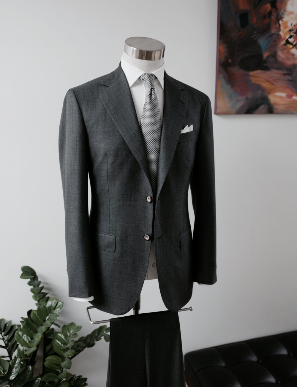 Business Attire, 5,000 Handmade Stitches, 50 Man Hours.     (Available at Lane Crawford)