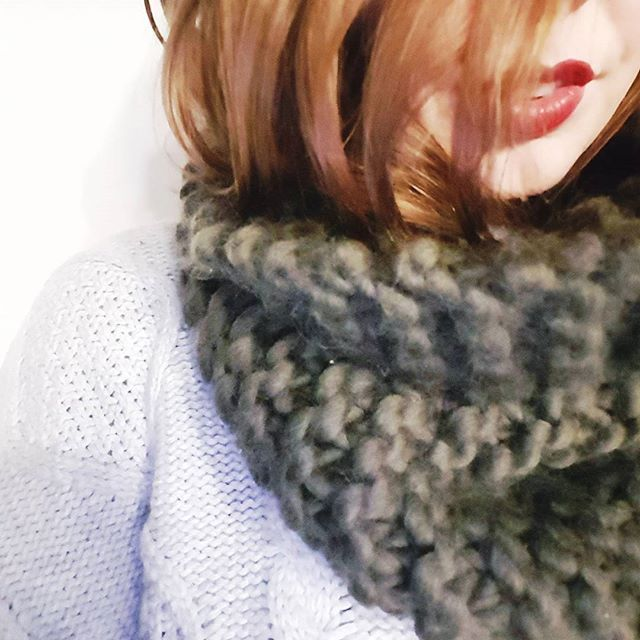 Yay its wool knit season! Chunky olive green collar in 100% giant wool is my go to all winter. Super cosy and delicious all the time. ❄❄❄ #winter #yay #knits #handknitted #madeinmelbourne #weeeeeeee #cosyfun #getintowool #inthecold #handsfree #collars #favouriteever