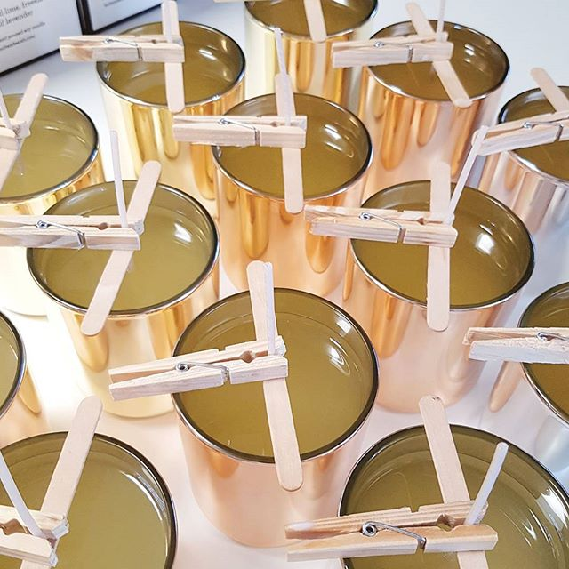 Wednesday Pour Pour Pour!  #pourday #soywax #scenteddreams #metallics #shinyshiny #discocandle #mirrormirror #pour #yumscents #settingtime #thelongwait #lovetheshine #copper #gold #silver #dreaming #midweekpour