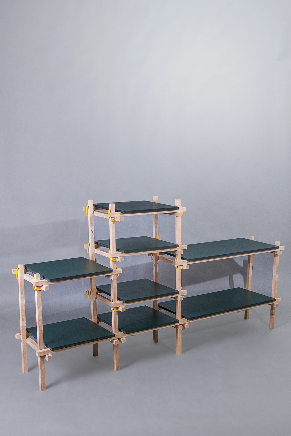 Lena Mari Skjoldal Kolås'  Gerrit  shelving is also designed for workshops. Made of simple solid oak elements.