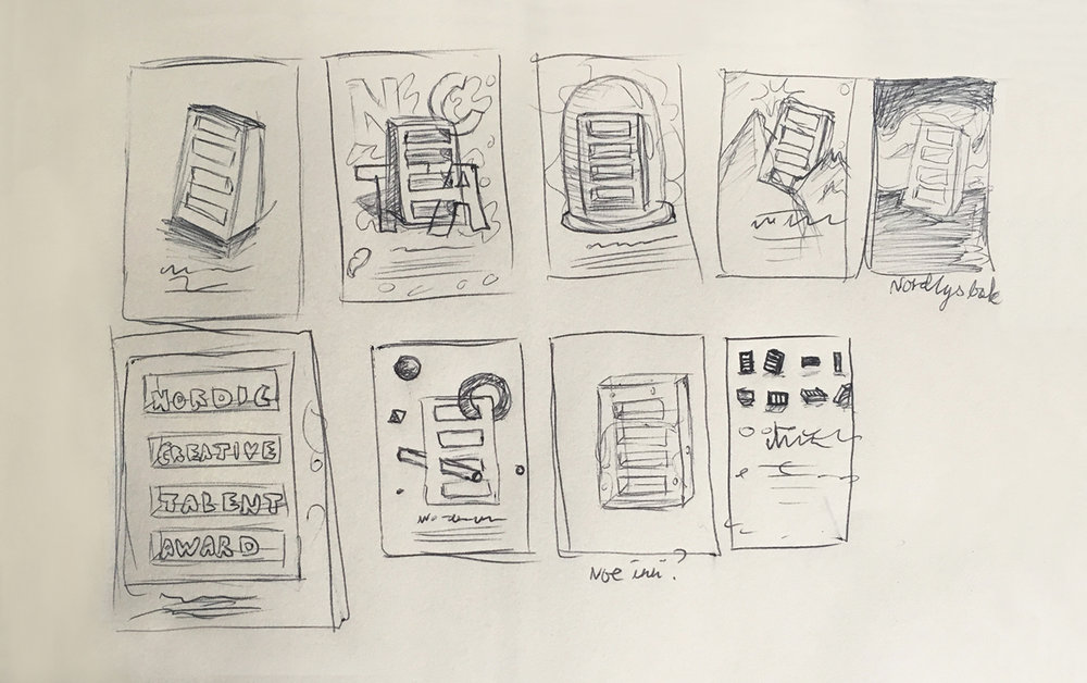 Martine:  After receiving the brief I started sketching out some ideas, just simple thumbnail sketches with pen and paper. I picked out two of the ideas I believed in, and worked out a simple debrief to explain them for Abbey Priest (Adobe Nordics ad agency).