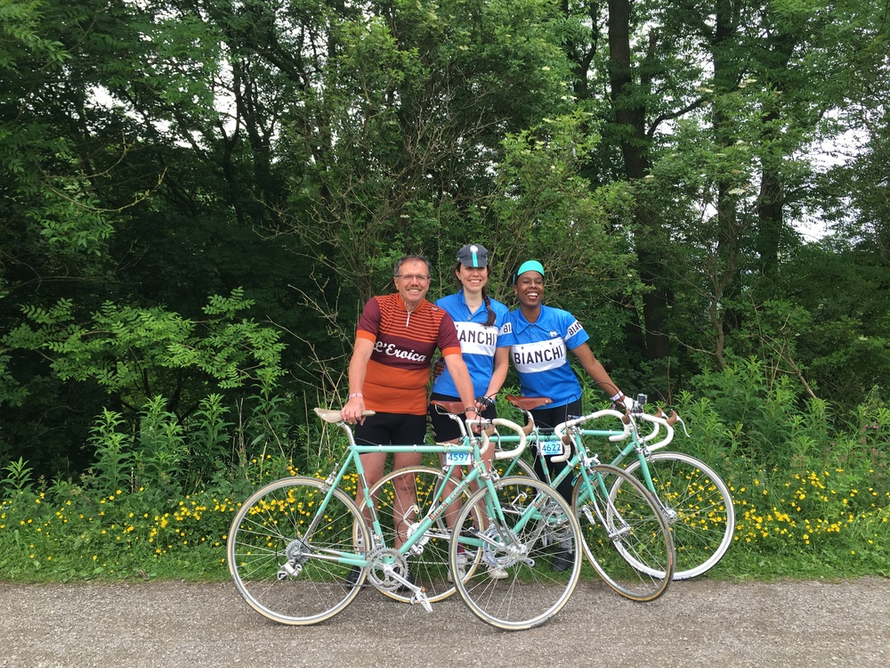 Giancarlo (the founder of Eroica), Lorena and Jools aka Lady Velo