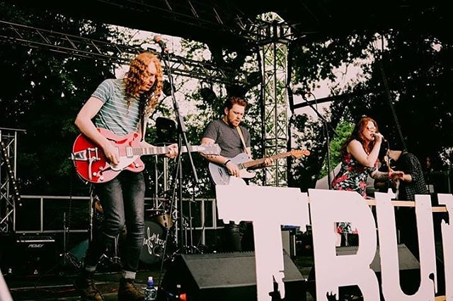 More awesome photos from our set at @trunchonbury_festival at the weekend courtesy of the lovely @colourful_norfolkgirl of @koalalife_photography 📷🎶♥️ . . . . #gig #festival #music #band #rockband #blues #bluesrock #unsigned #redhead #redhairdontcare #siblings #photographer #photography #gretsch #fender #electricguitar #bass #singer #drums