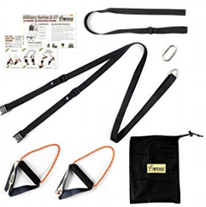 WOSS Suspension straps  (for the fit traveler) - It makes it super easy to work out while traveling because you are using your own body as the weight and you can set it up just about anywhere.