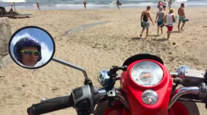 Motorcycle rides on the beach.
