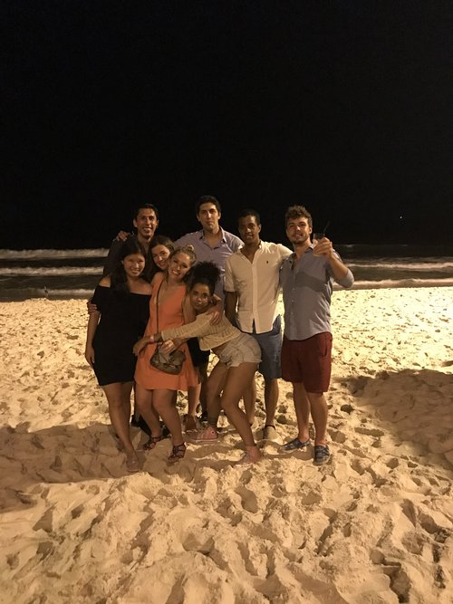 A few Americans, Bolivians and Aussies on the beach in Brazil
