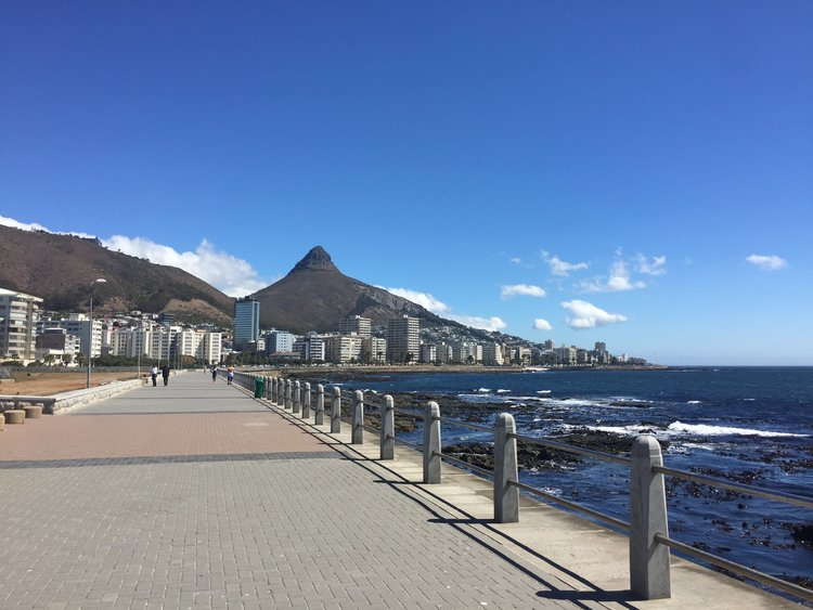 Sea Point Promenade with Lion's Head in the background - Photo by Berta Garrote