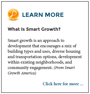 Learn More: What Is Smart Growth? Smart growth is an approach to development that encourages a mix of building types and uses, diverse housing and transportation options, development within existing neighborhoods, and community engagement. (From Smart Growth America.) Click here for more.