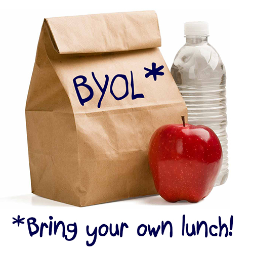 brown paper bag with apple and bottle of water with text reading bring your own lunch