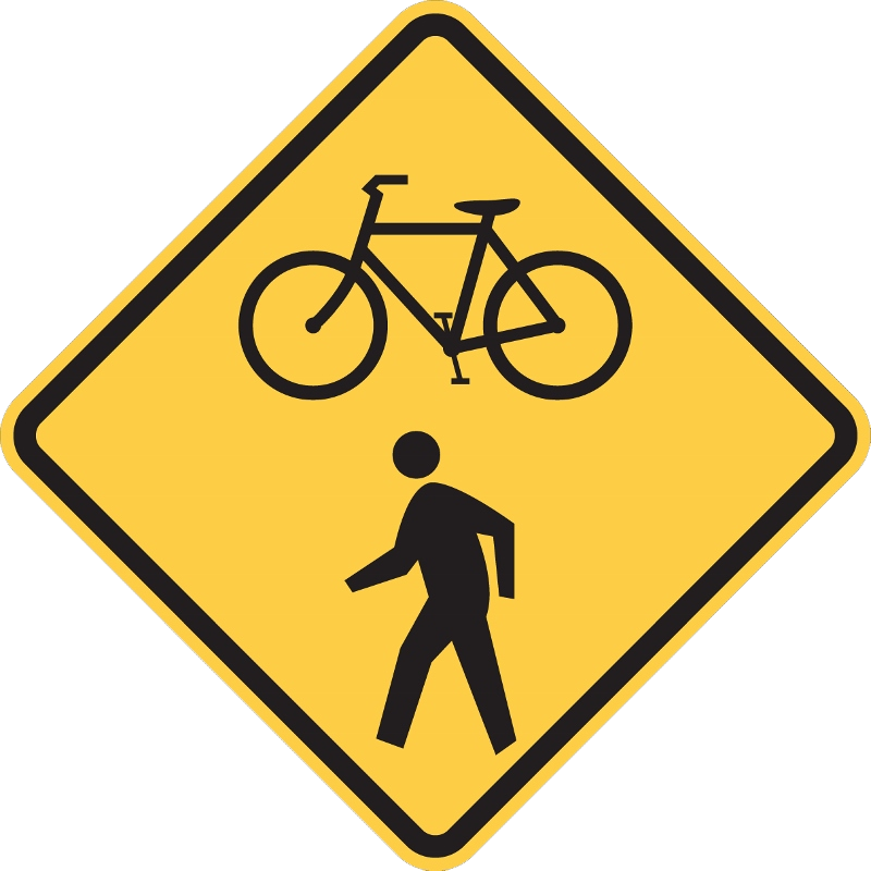 Street sign showing pedestrian and bicyclist