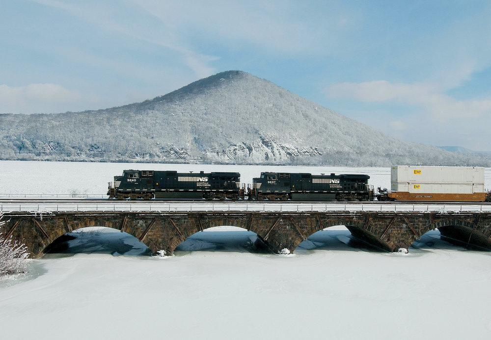 Train crossing Sherman Creek bridge at Duncannon, Perry County (courtesy Michael Baker Intl.)
