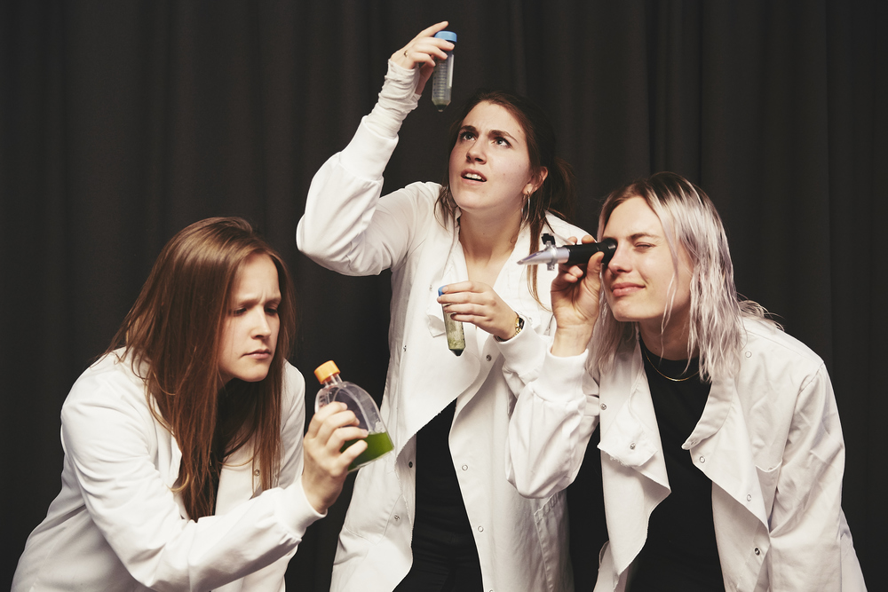 Phoebe, Sophie and Aspen professing their love of science. Photo by Joe Sarah.