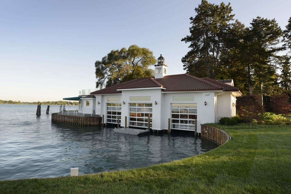 South channel homes boat house st clair river for Boat garages