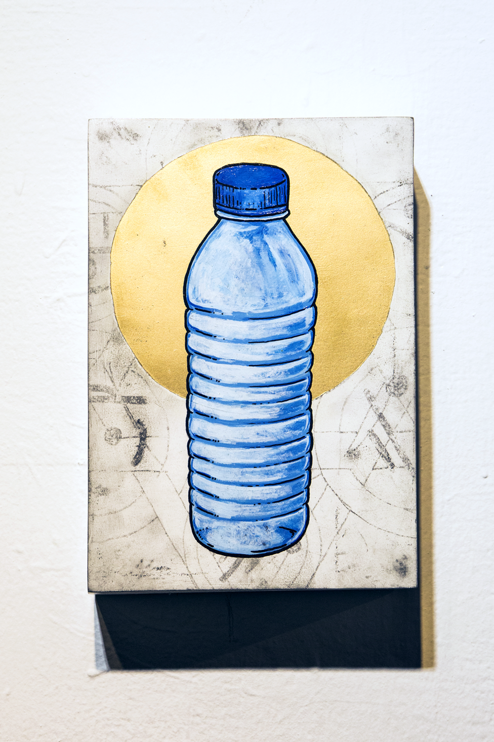 Water - Water  Acrylic, Graphite, Spray paint, and Paint Pen on board  15.5 x 22 x 5cm