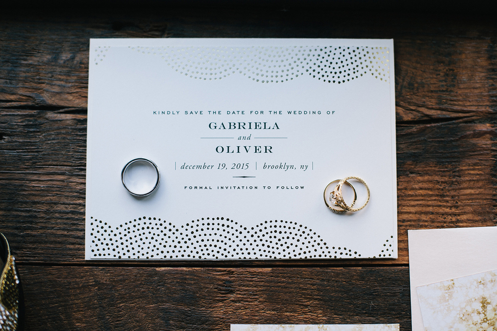 Detail of Rings and Invitation, Wedding of Gabriela & Oliver, Brooklyn Winery, NY