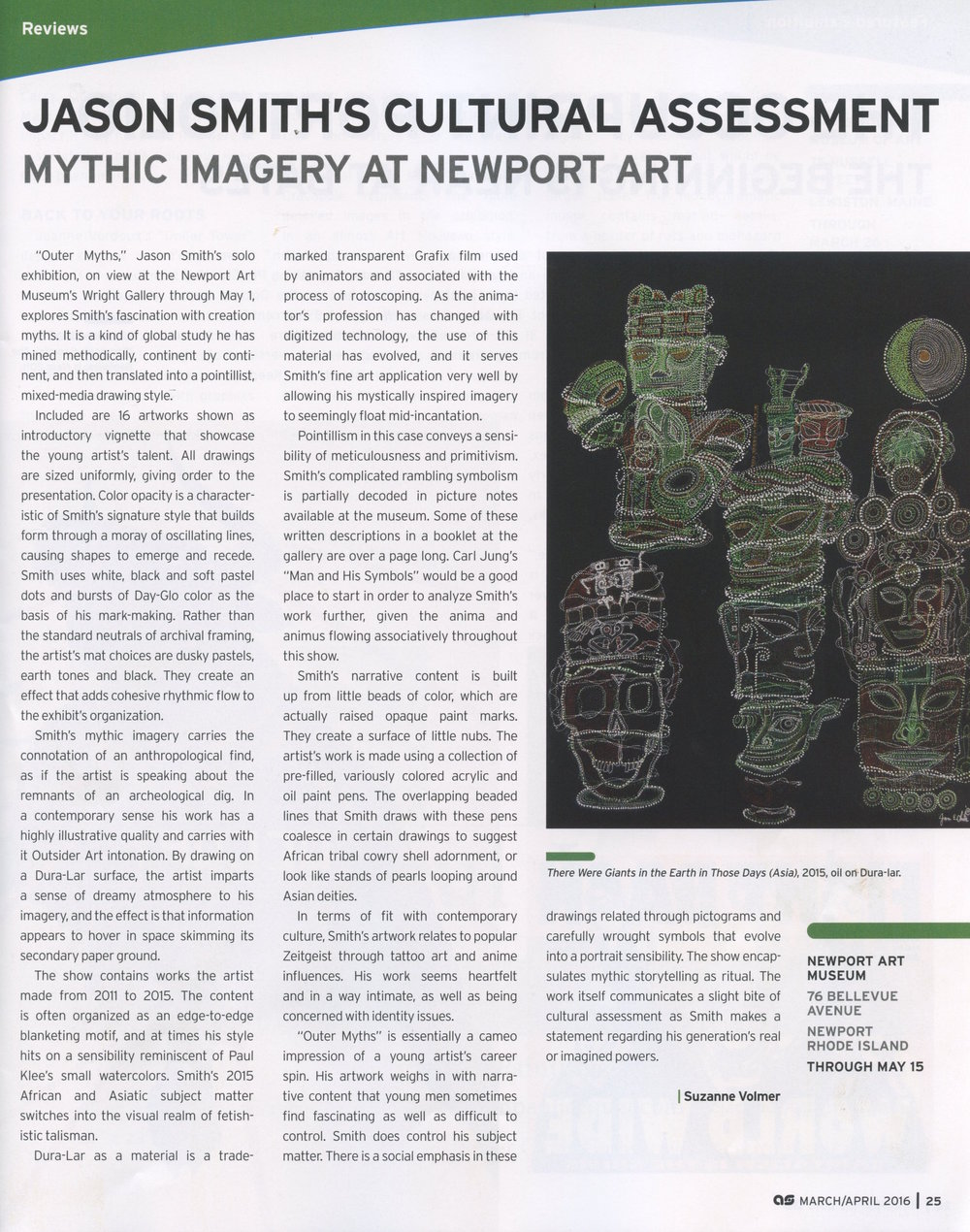 Artscope Magazine April 2016Jason Smith's Cultural assessment at Newport Art
