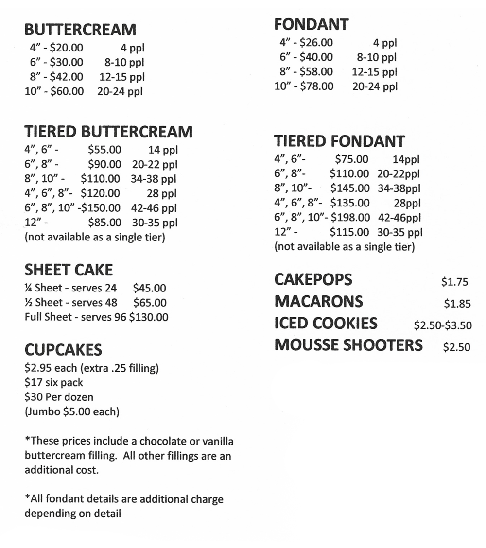 cupcake and cake pricing
