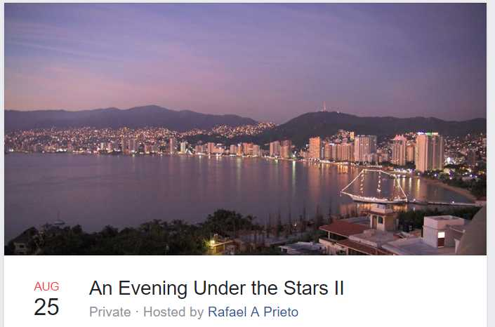 An Evening Under the Stars II - In the garden of the Executive Director, Michael Reilly.Those who attended last season were treated to a glorious evening of sumptuousLatin American food, great singing, and a romantic evening under the stars.6:30 PM40 Dollars