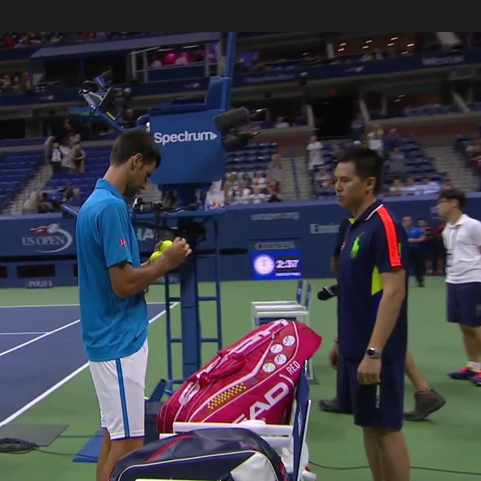 Novak Djokovic and Sal Close Up - Now take a sip of your beverage.
