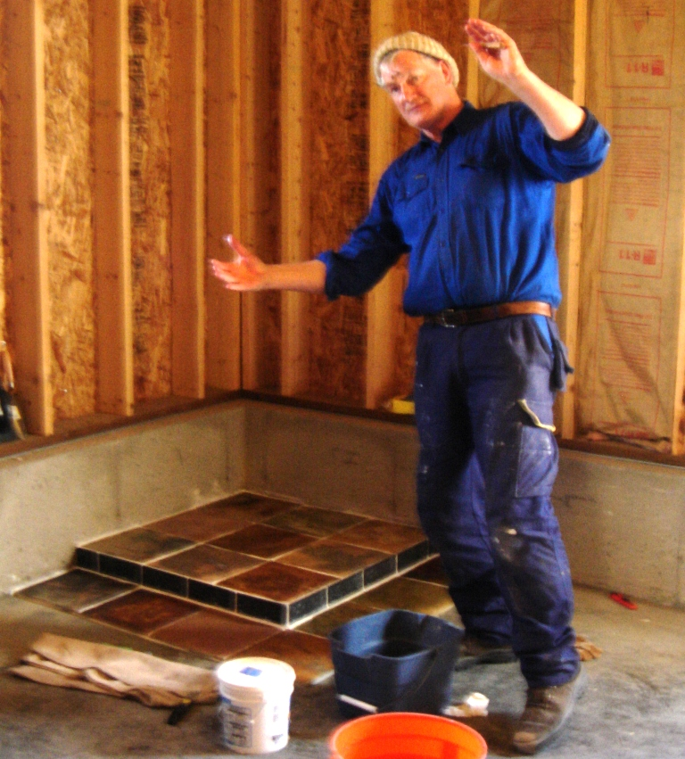 Hans showing off his Tile handiwork 2005