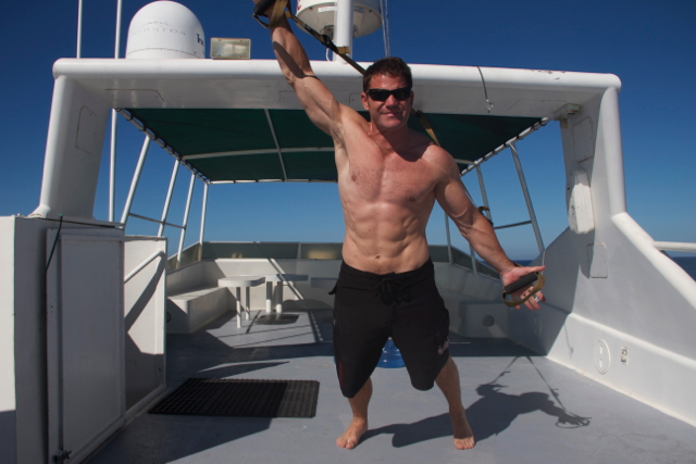 Steve Training on a boat while filming great white sharks