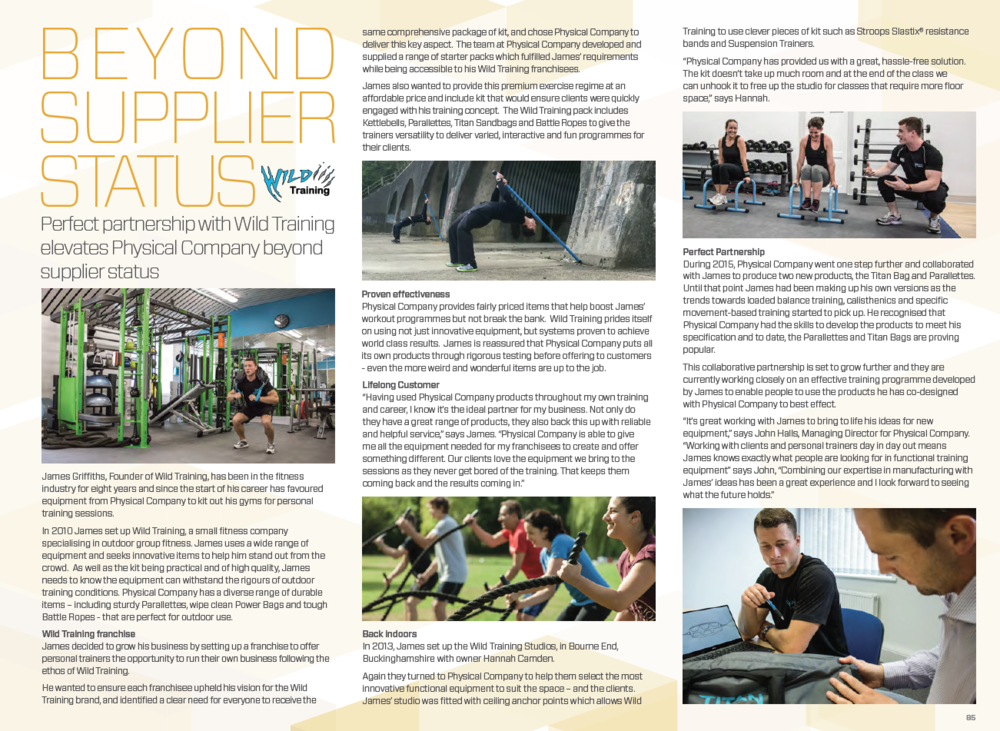 Wild Training featuring in the Physical Company product catalogue