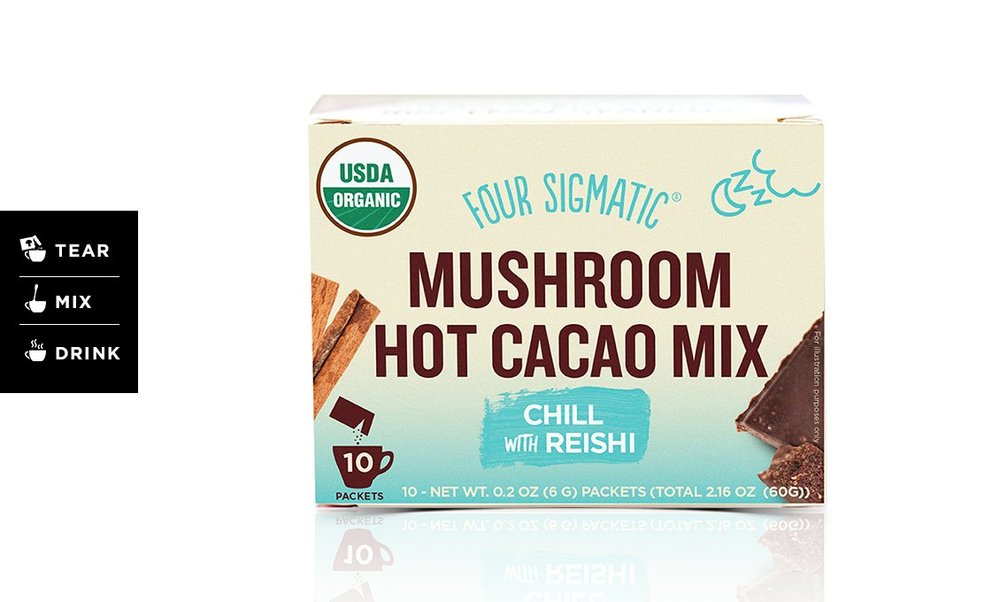 Mushroom Hot Cacao Mix - If you have never tried the Four Sigmatic blends, the Hot Cacao is a perfect starter. All the sweetness and chocolaty flavor you expect with the nutrient superfood boost of mushrooms.