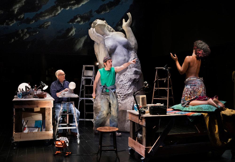 L-R: Tony Award-winner Reed Birney, Max Gordon Moore, and Nana Mensah in Tracy Letts's  Man from Nebraska     (Photo Credit: Sara Krulwich/The New York Times)