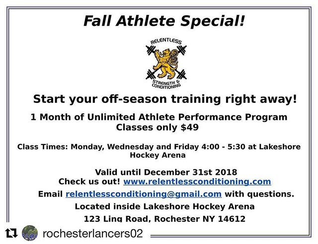 FALL ATHLETE SPECIAL! We want our fall athletes back in the gym. Enjoy 50% off your first month back in the gym when you sign up in November or December. #relentless #athletes #strengthandconditioning