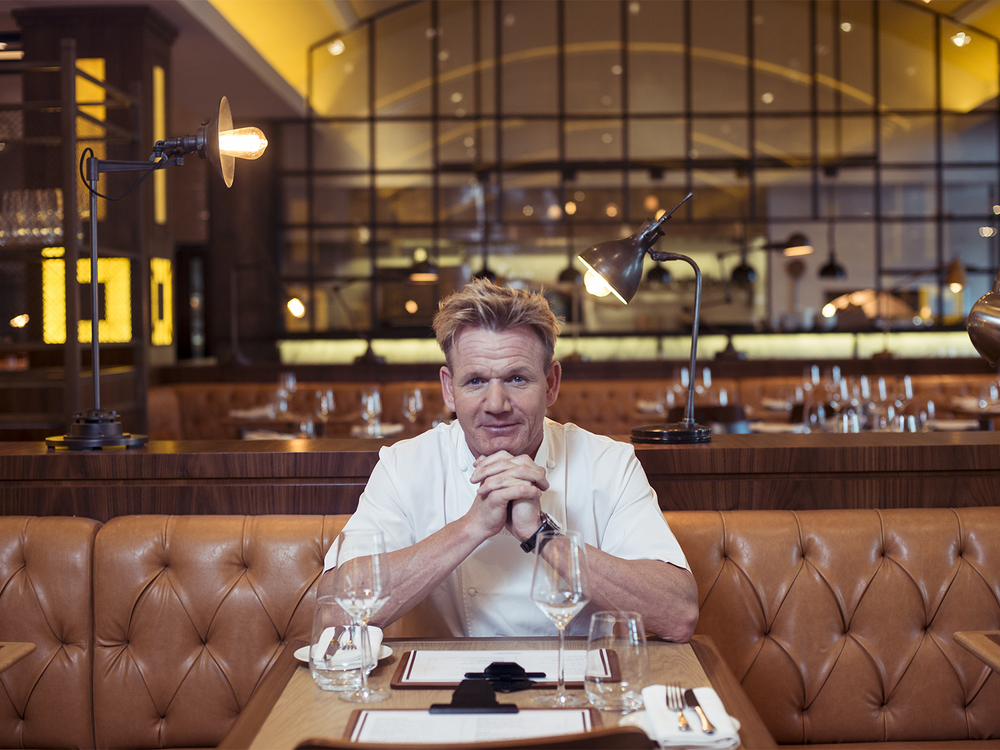 Celebrity chef Gordon Ramsay photographed in Dubai for Open Skies.