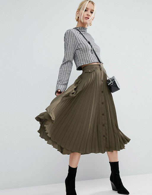 ASOS Button Through Pleated Midi Skirt .jpeg