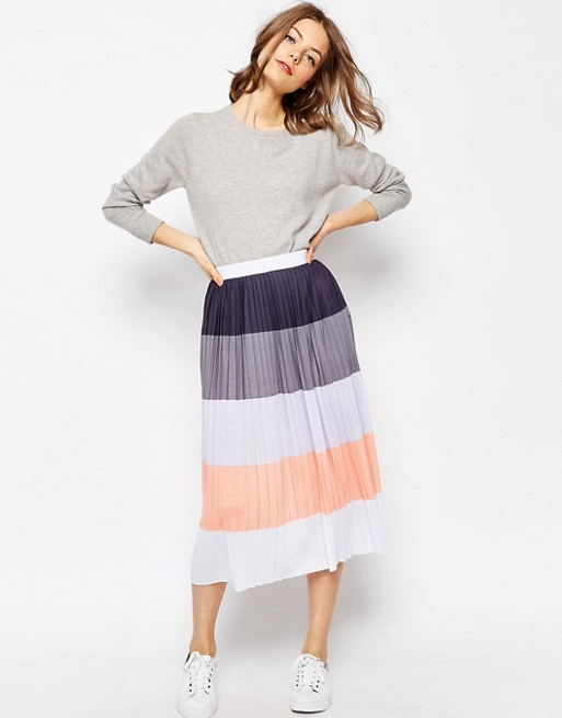 ASOS Pleated Midi Skirt in Color Block .jpeg