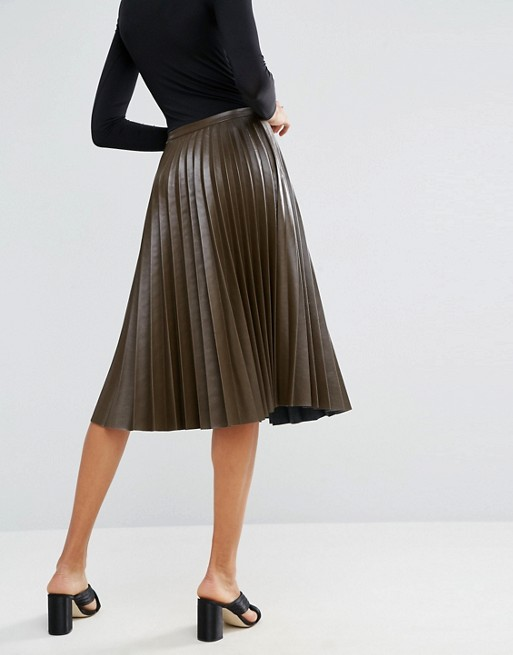 ASOS TALL Pleated Leather Look Midi Skirt .jpeg