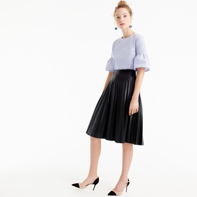 J Crew Pleated Leather Midi Skirt.jpeg