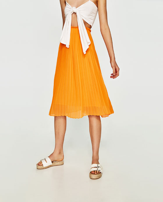 Zara Orange Pleated Midi.jpg