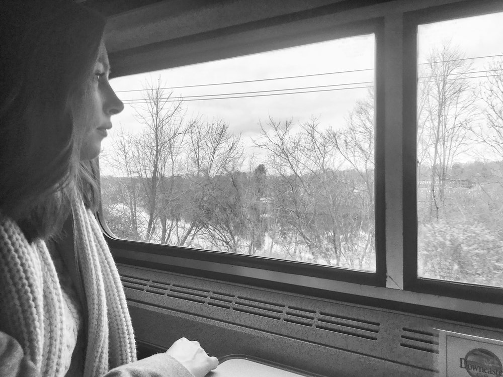 Enjoying the view out the train window! This would be the prettiest ride during peak fall foliage!